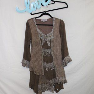 PRETTY ANGEL Olive Green Lace Tan Tunic Size Small